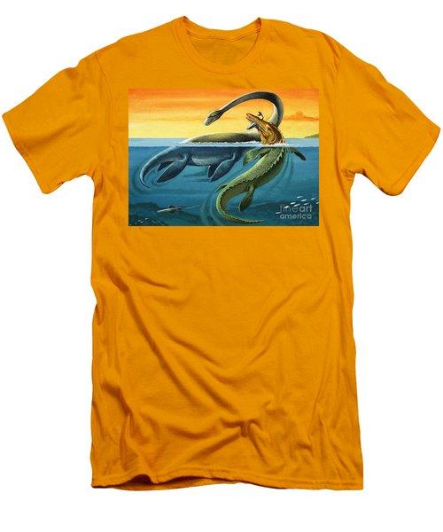 Prehistoric Creatures In The Ocean Men's T-Shirt (Slim Fit)