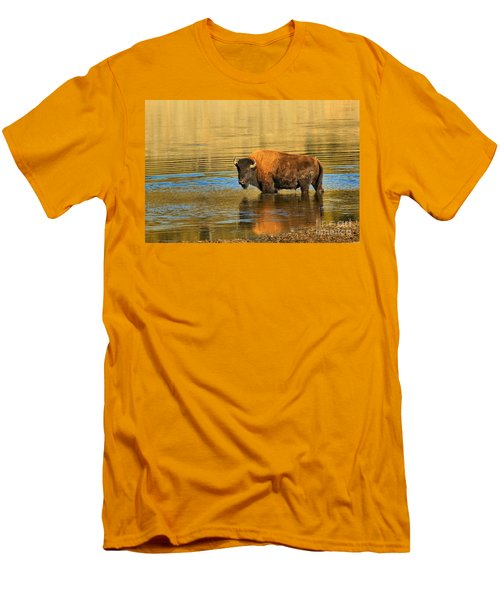 Men's T-Shirt (Slim Fit) featuring the photograph Preparing To Swim The Yellowstone by Adam Jewell