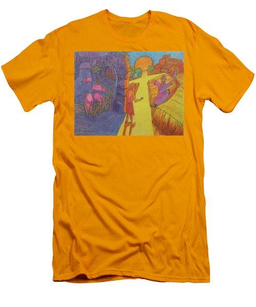 Prodigal Son Parable Painting By Bertram Poole Men's T-Shirt (Slim Fit) by Thomas Bertram POOLE