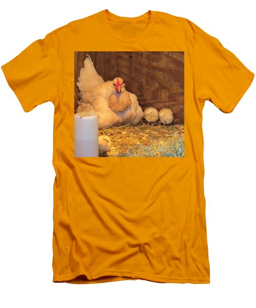 Men's T-Shirt (Slim Fit) featuring the photograph Proud Mother Hen by Jeanette Oberholtzer