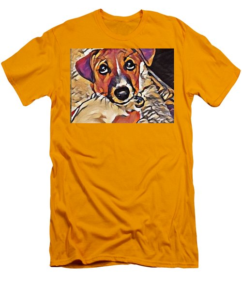 Puppy Eyes Men's T-Shirt (Slim Fit) by Holly Martinson