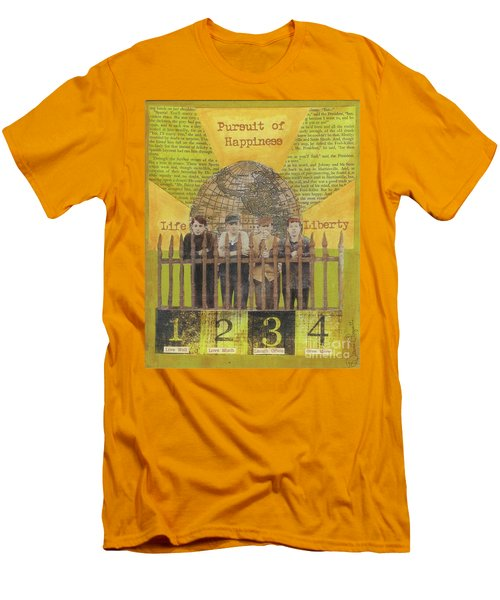 Men's T-Shirt (Slim Fit) featuring the mixed media Pursuit Of Happiness by Desiree Paquette