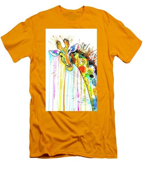 Men's T-Shirt (Slim Fit) featuring the painting Rainbow Giraffe by Zaira Dzhaubaeva