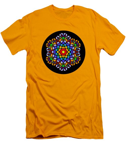 Rainbow Mandala By Kaye Menner Men's T-Shirt (Slim Fit) by Kaye Menner