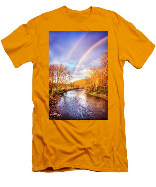Men's T-Shirt (Slim Fit) featuring the photograph Rainbow Over The River II by Debra and Dave Vanderlaan