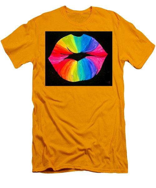 Rainbow Smooch Men's T-Shirt (Slim Fit) by Marisela Mungia