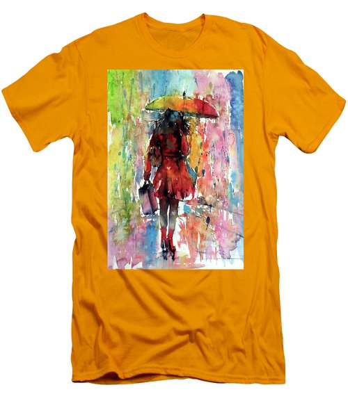 Men's T-Shirt (Slim Fit) featuring the painting Rainy Day by Kovacs Anna Brigitta