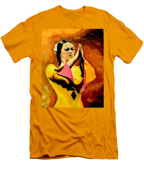 Raquel Heredia - Flamenco Dancer Men's T-Shirt (Slim Fit) by Manuel Sanchez