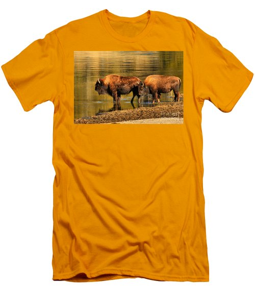 Men's T-Shirt (Slim Fit) featuring the photograph Ready To Cross The Yellowstone by Adam Jewell