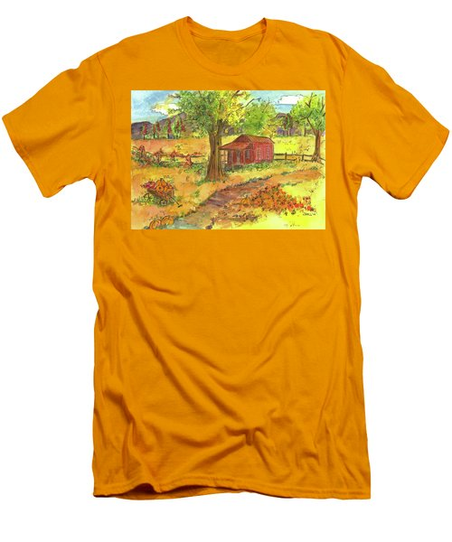 Men's T-Shirt (Slim Fit) featuring the painting Red Cabin In Autumn  by Cathie Richardson
