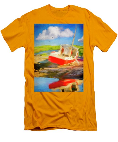 Red Fishing Boat Men's T-Shirt (Athletic Fit)