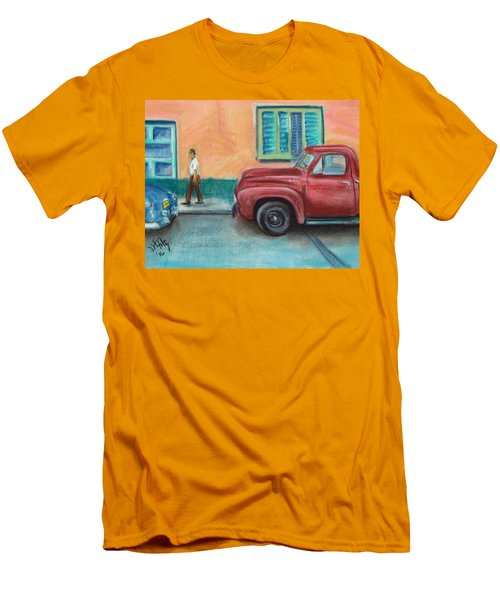 Red Truck Parked Men's T-Shirt (Athletic Fit)