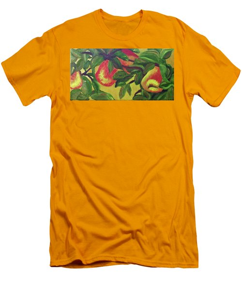 Men's T-Shirt (Slim Fit) featuring the painting Ripe Pears On The Tree by Margaret Harmon