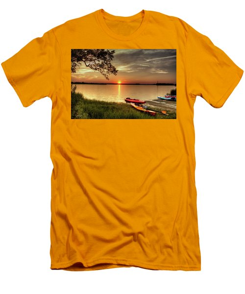 Men's T-Shirt (Slim Fit) featuring the photograph River Road Park Never Disappoints by Phil Mancuso