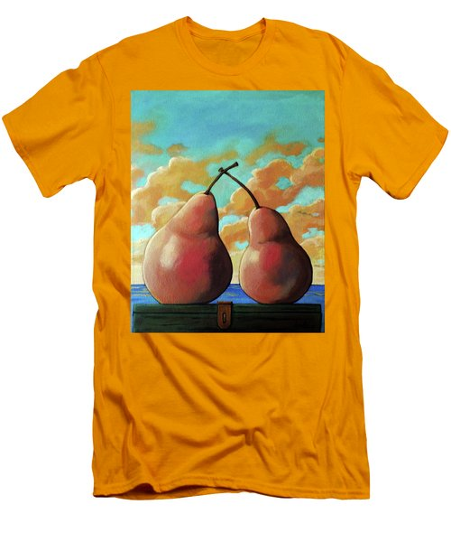 Men's T-Shirt (Slim Fit) featuring the painting Romantic Pear by Linda Apple