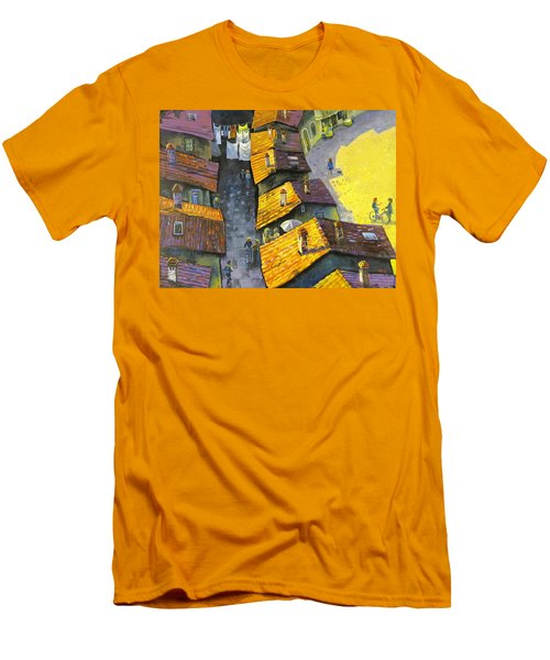 Rooftops Men's T-Shirt (Slim Fit) by Mikhail Zarovny
