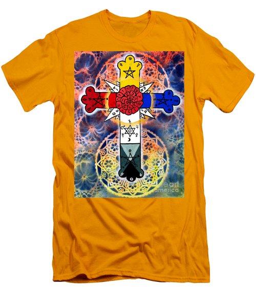Rosy Cross Men's T-Shirt (Slim Fit) by Luke Galutia