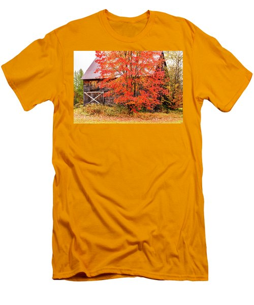Men's T-Shirt (Athletic Fit) featuring the photograph Rustic Barn In Fall Colors by Jeff Folger