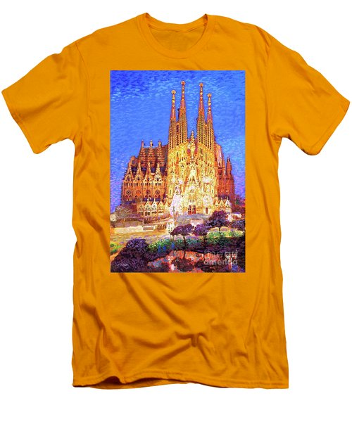 Men's T-Shirt (Slim Fit) featuring the painting Sagrada Familia At Night by Jane Small