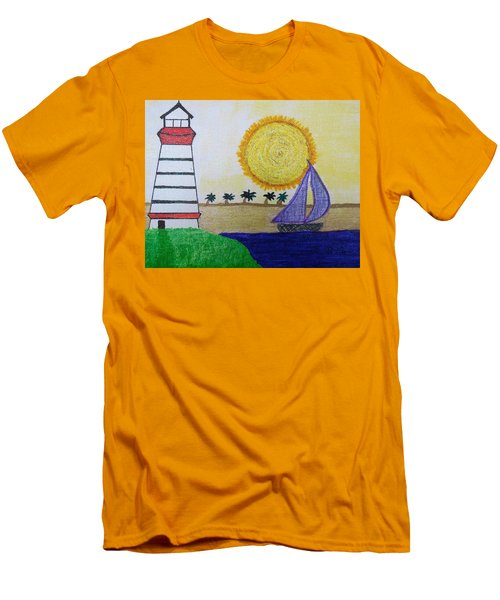 Sail Boat With Purple Sails Men's T-Shirt (Athletic Fit)