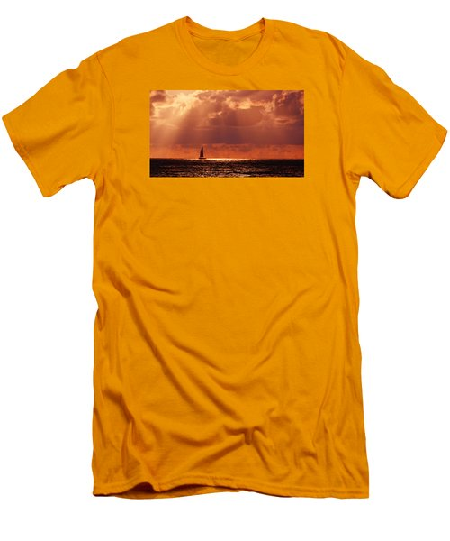 Sailboat Sun Rays Men's T-Shirt (Athletic Fit)