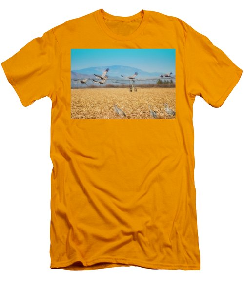 Sandhill Cranes In Flight Men's T-Shirt (Athletic Fit)