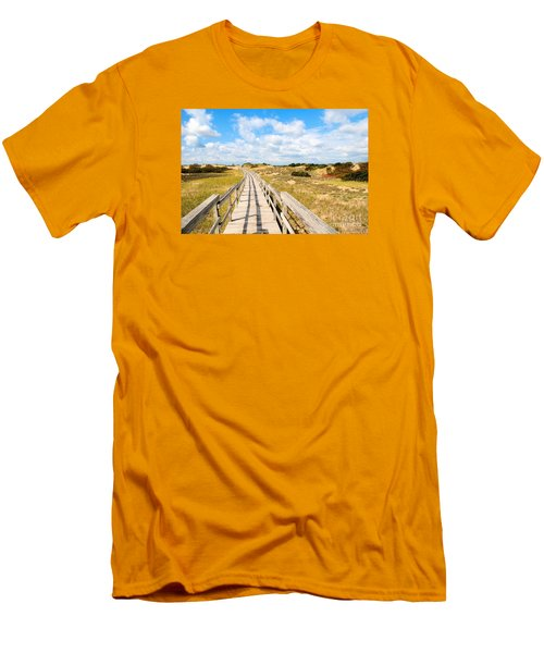 Men's T-Shirt (Slim Fit) featuring the photograph Seabound Boardwalk by Debbie Stahre