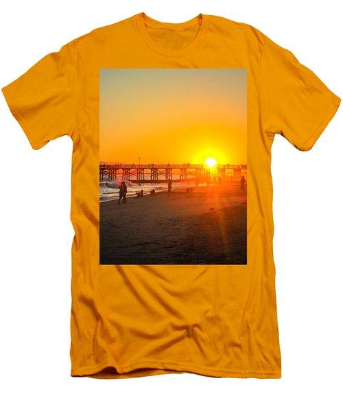 Seal Beach Pier Sunset Men's T-Shirt (Slim Fit) by Mark Barclay