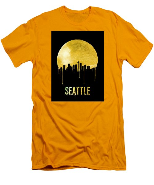 Seattle Skyline Yellow Men's T-Shirt (Slim Fit) by Naxart Studio