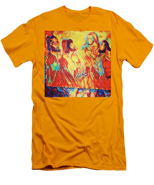 Shadrach, Meshach And Abednego In The Fire With Jesus Men's T-Shirt (Athletic Fit)