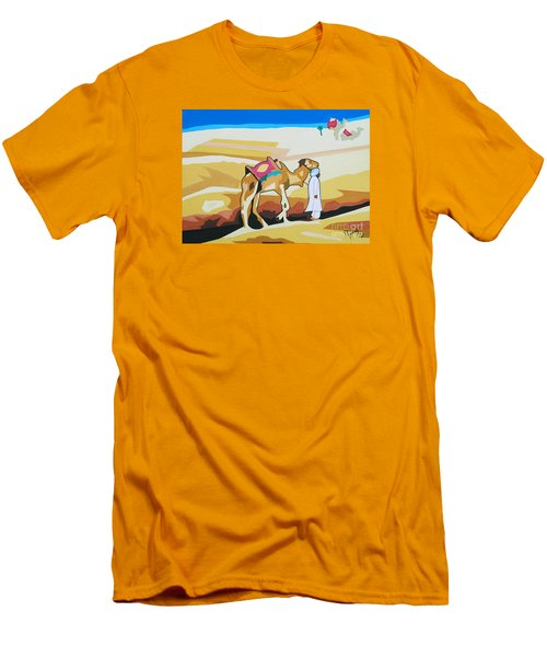 Men's T-Shirt (Slim Fit) featuring the painting Sharing The Journey by Ragunath Venkatraman