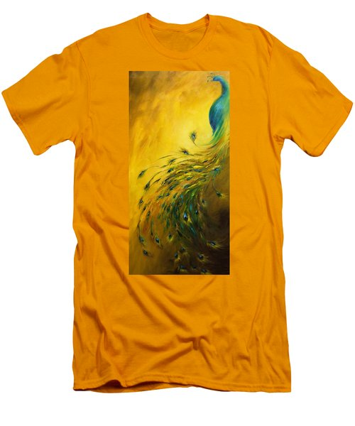 Show Off 1 Vertical Peacock Men's T-Shirt (Slim Fit) by Dina Dargo