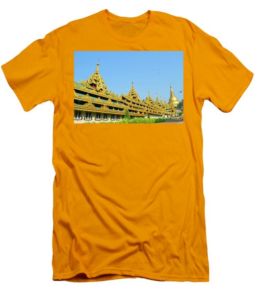 Men's T-Shirt (Slim Fit) featuring the digital art Shwedagon Pagoda 2 by Eva Kaufman