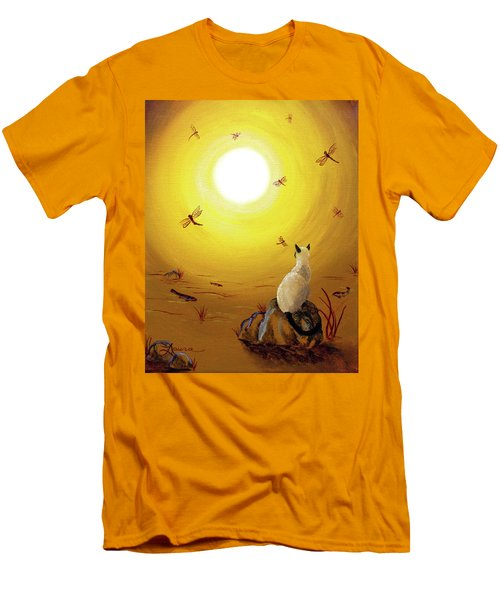 Siamese Cat With Red Dragonflies Men's T-Shirt (Slim Fit) by Laura Iverson