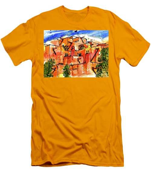 Men's T-Shirt (Slim Fit) featuring the painting Southwestern Architecture by Terry Banderas