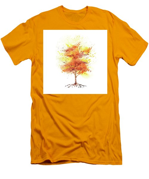 Men's T-Shirt (Athletic Fit) featuring the painting Splash Of Fall Watercolor Tree by Irina Sztukowski