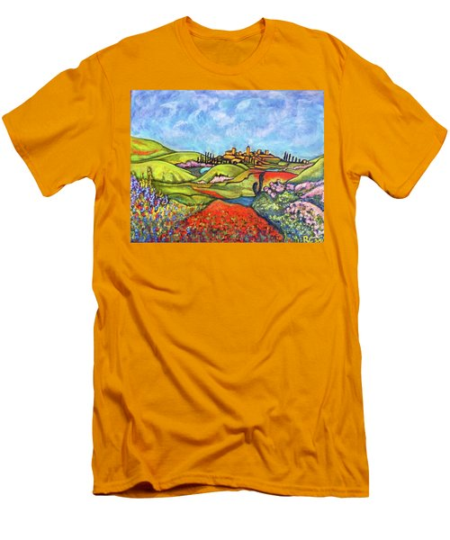 Men's T-Shirt (Slim Fit) featuring the painting Spring Breeze by Rae Chichilnitsky