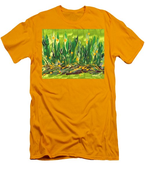 Men's T-Shirt (Slim Fit) featuring the painting Spring Garden by Holly Carmichael