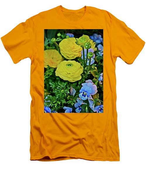 Spring Show 18 Persian Buttercup With Horned Viola Men's T-Shirt (Athletic Fit)
