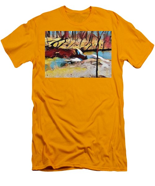 Spring Waterfall Men's T-Shirt (Slim Fit) by Kathie Chicoine