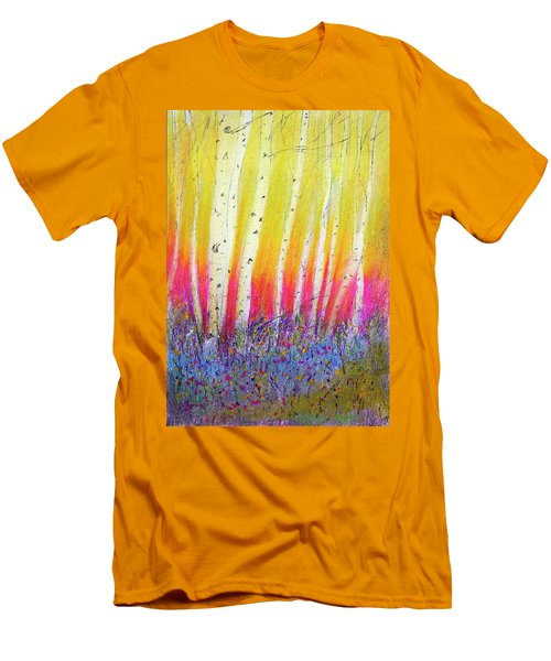 Men's T-Shirt (Slim Fit) featuring the pastel Summer Birch  by Linde Townsend
