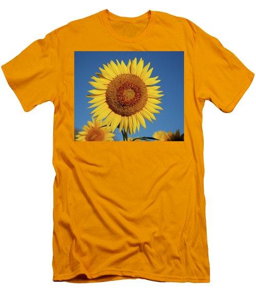 Sunflower And Blue Sky Men's T-Shirt (Slim Fit) by Nancy Landry