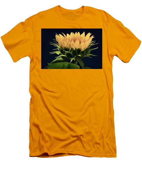 Men's T-Shirt (Slim Fit) featuring the photograph Sunflower Foliage And Petals by Chris Berry