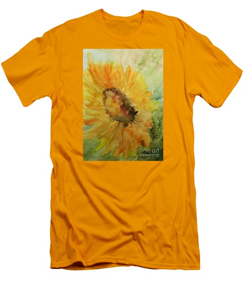 Sunflower Watercolor Men's T-Shirt (Slim Fit) by AmaS Art