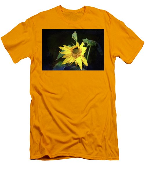 Men's T-Shirt (Athletic Fit) featuring the photograph Sunflower With Texture by Trina Ansel