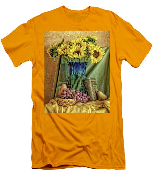 Sunflowers And Blue Vase Men's T-Shirt (Athletic Fit)