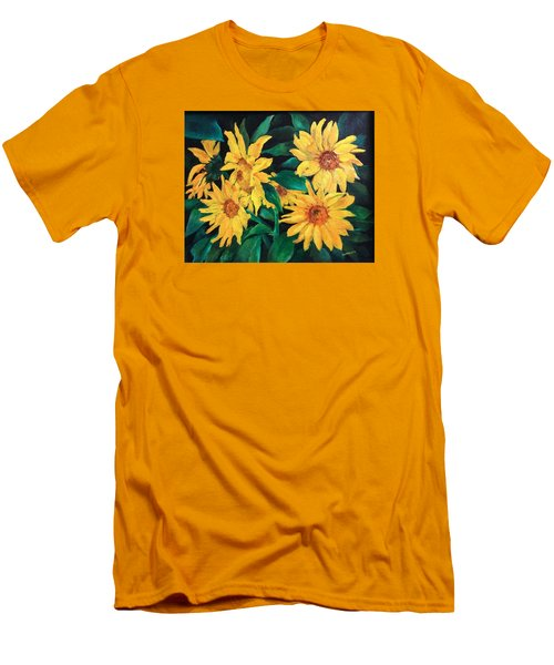 Men's T-Shirt (Slim Fit) featuring the painting Sunflowers by Ellen Canfield
