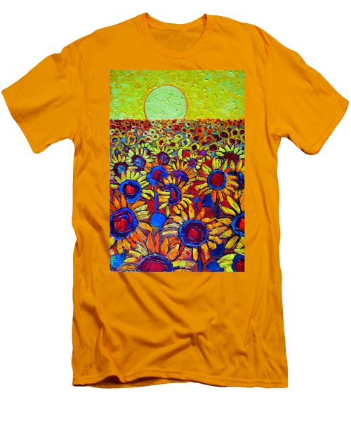 Sunflowers Field At Sunrise Men's T-Shirt (Slim Fit) by Ana Maria Edulescu