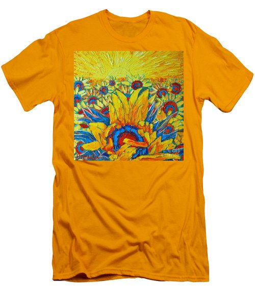 Sunflowers Field In Sunrise Light Men's T-Shirt (Athletic Fit)