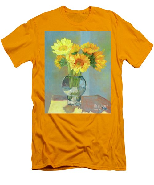 Men's T-Shirt (Athletic Fit) featuring the painting Sunflowers In A Glass Vase Number One by Marlene Book
